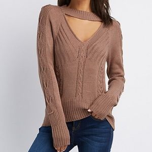 Cut-Out Lace-Up Detail Pullover Sweater S